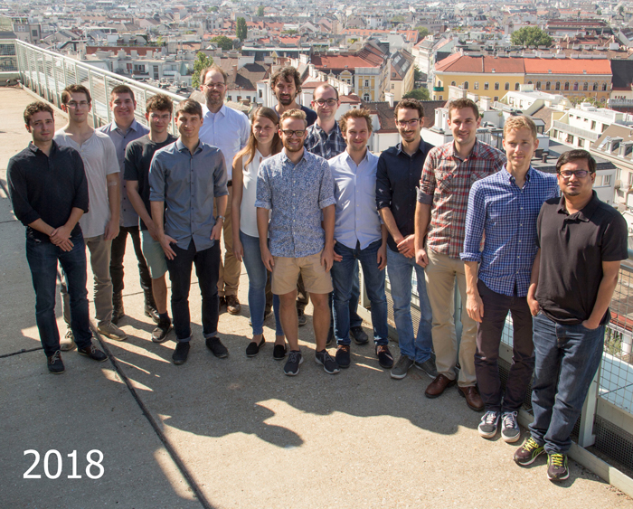Group photo taken in 2018 on the roof of the Freihaus